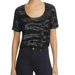 Lucy Paris Black Sequined Crop Top Shirt